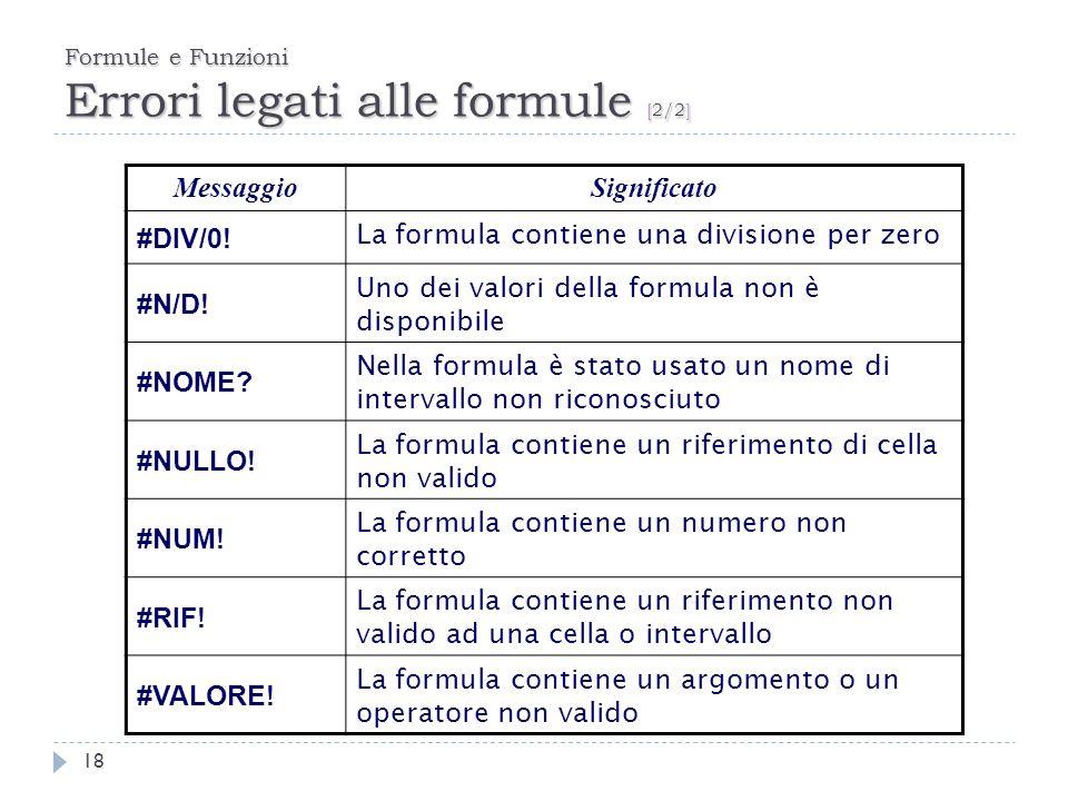 Formule e Funzioni Errori legati alle formule [2/2]